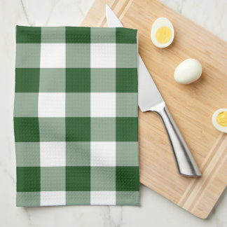 Green and White Gingham Pattern Tea Towel
