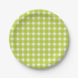 Green and White Gingham Plaid Checks Wedding Party Paper Plate