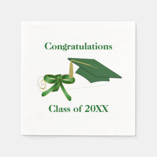 Green and White Graduation Party Paper Napkins