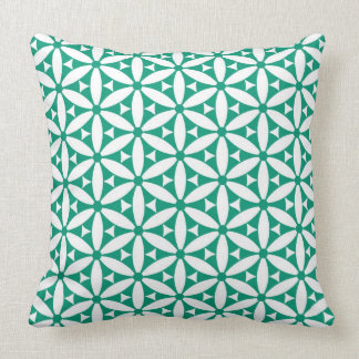green and white graphic background pillow