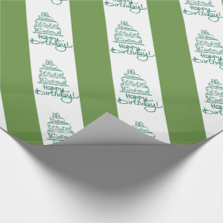 Green And White Happy Birthday Design Wrapping Paper