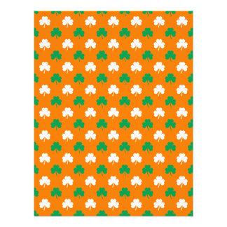 Green And White Heart-Shaped Shamrock On Orange Full Color Flyer