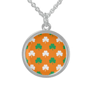 Green And White Heart-Shaped Shamrock On Orange Sterling Silver Necklaces