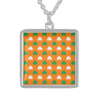 Green And White Heart-Shaped Shamrock On Orange Custom Jewelry