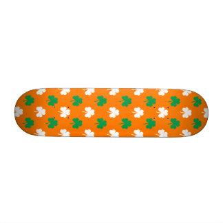 Green And White Heart-Shaped Shamrock On Orange Custom Skateboard