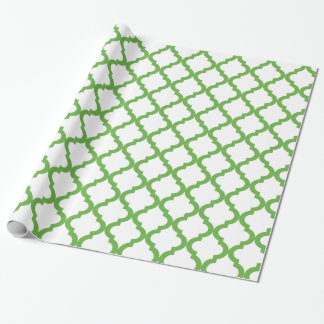 Green and White Holiday Moroccan Quatrefoil Wrapping Paper