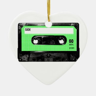 Green and White Houndstooth Label Cassette Christmas Ornaments