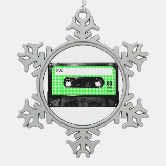 Green and White Houndstooth Label Cassette Pewter Snowflake Decoration