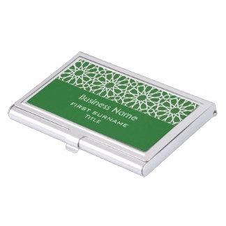 Green and white Islamic Geometric design Business Card Holder