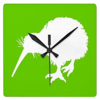 Green and White Kiwi Clocks