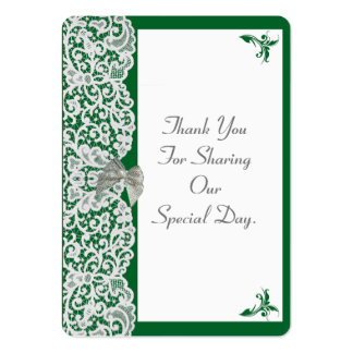 Green and white lace wedding thank you tag pack of chubby business cards