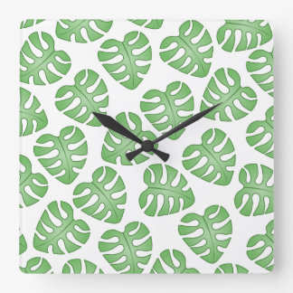 Green and White Leaf Pattern. Square Wall Clock