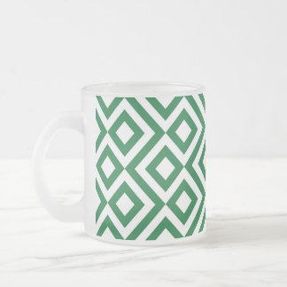 Green and White Meander Mugs