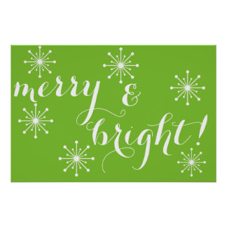 Green and White Merry and Bright! Poster