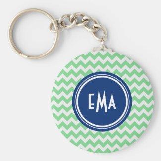 Green And White Monogram Geometric Chevron Pattern Basic Round Button Key Ring