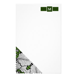 Green and White Monogram with Tropical Palm Leaves Stationery