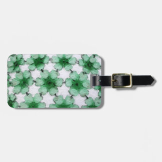 Green and white painted flowers bag tags