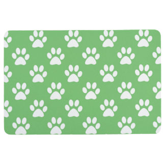 Green and white paws pattern floor mat