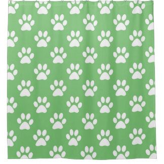 Green and white paws pattern shower curtain