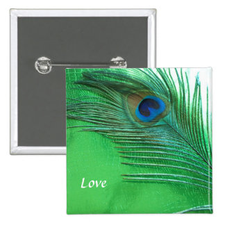 Green and White Peacock Feather Still Life 15 Cm Square Badge
