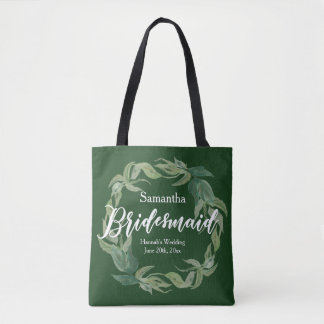 Green and White Personalized Bridesmaid Boho Tote Bag