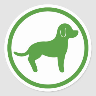 Green And White Pets Welcome Classic Round Sticker