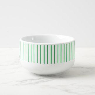 Green and White Pinstripe Soup Mug