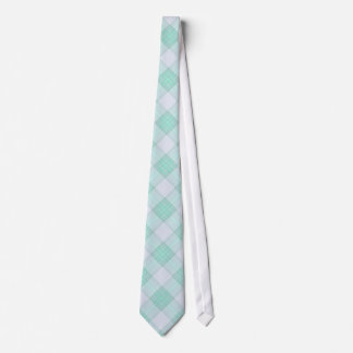 Green and White Plaid Neck Tie