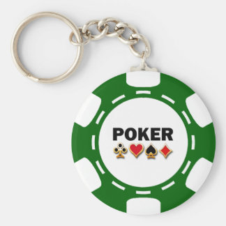 GREEN AND WHITE POKER CHIP BASIC ROUND BUTTON KEY RING