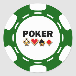 GREEN AND WHITE POKER CHIP CLASSIC ROUND STICKER