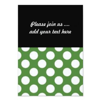 Green and White Polka Dot 13 Cm X 18 Cm Invitation Card