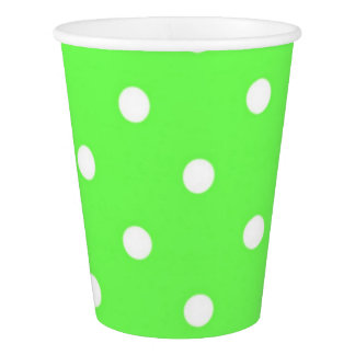 Green and white polka dot modern glamour paper cup