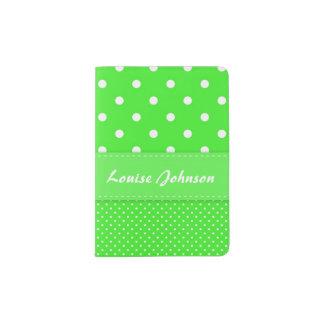 Green and White Polka Dot Passport Holder