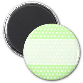 Green and White Polka Dot Pattern. Spotty. 6 Cm Round Magnet