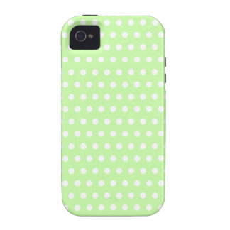 Green and White Polka Dot Pattern Spotty iPhone 4 Cases
