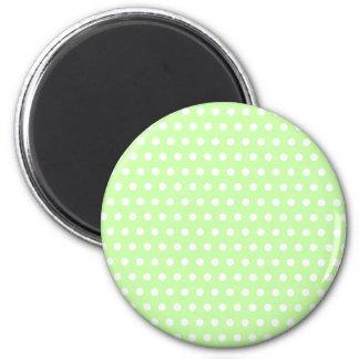 Green and White Polka Dot Pattern Spotty Fridge Magnets