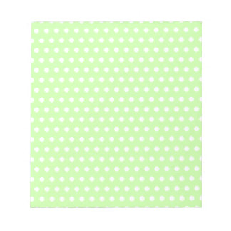 Green and White Polka Dot Pattern. Spotty. Notepad