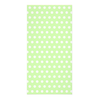 Green and White Polka Dot Pattern. Spotty. Photo Card Template