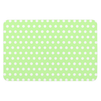 Green and White Polka Dot Pattern Spotty Rectangle Magnets