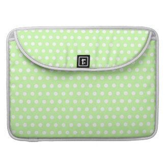 Green and White Polka Dot Pattern. Spotty. Sleeve For MacBooks