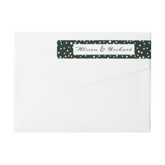 Green and white polka dot pattern wedding wrap around label