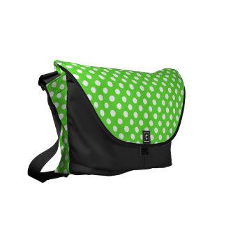 Green and White Polka-dot Rickshaw Messeger bag Messenger Bags