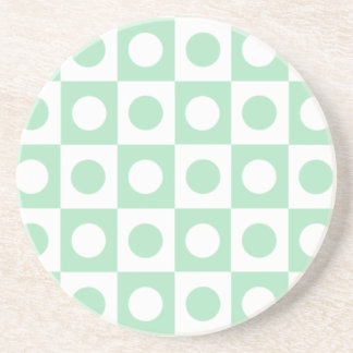 Green and White Polka Dot Squares Drink Coasters