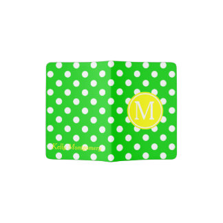 Green and White Polka Dot With Yellow Monogram Passport Holder
