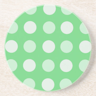Green And White Polka Dots Coasters