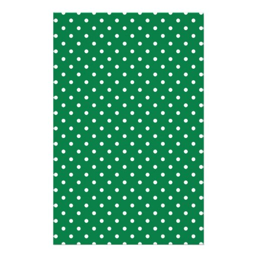 Green and White Polka Dots Personalized Stationery