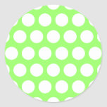 Green and White Polka Dots Stickers