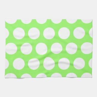 Green and White Polka Dots Tea Towel