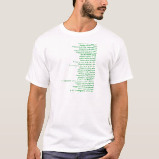 Green and White Polyglot T-Shirt