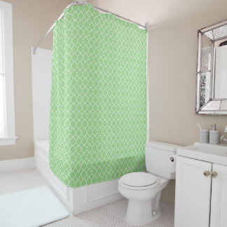 Green and White Quatrefoil Shower Curtain